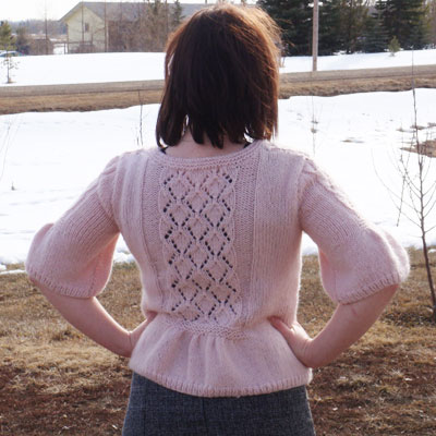 Back of SweaterBabe's Lush and Lacy Cardign Pattern