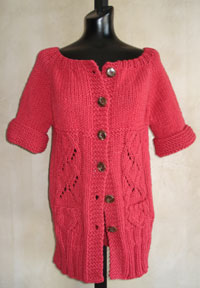 Red Long Knit Jacket Knitting Pattern