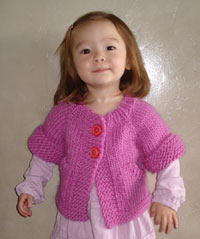 Kids Knit Cardigan Top Down Knitting Pattern