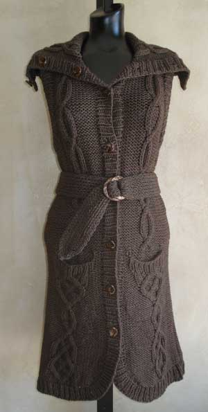 Long Belted Cabled Vest Knitting Pattern