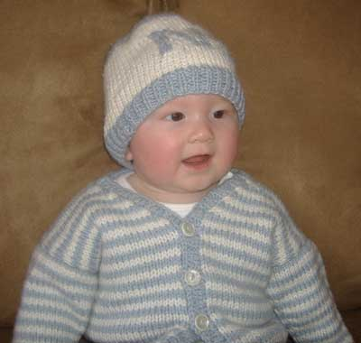Cute Baby in Knit Ensemble