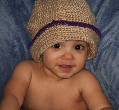 Cute Baby Photo in Crocheted Hat
