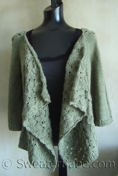 Drape-Front Lace Cardigan - Knitting Patterns Blog from SweaterBabe.com