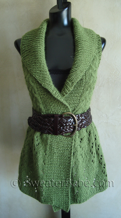 My new long, lace shawl-collared vest - Knitting Patterns Blog from ...
