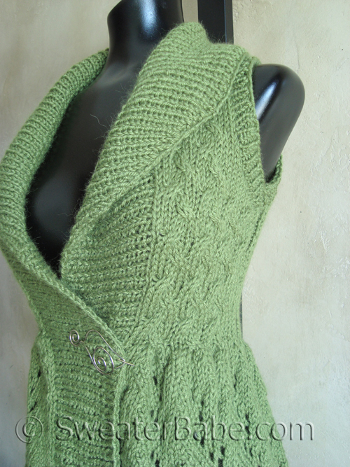 My new long, lace shawl-collared vest - Knitting Patterns ...