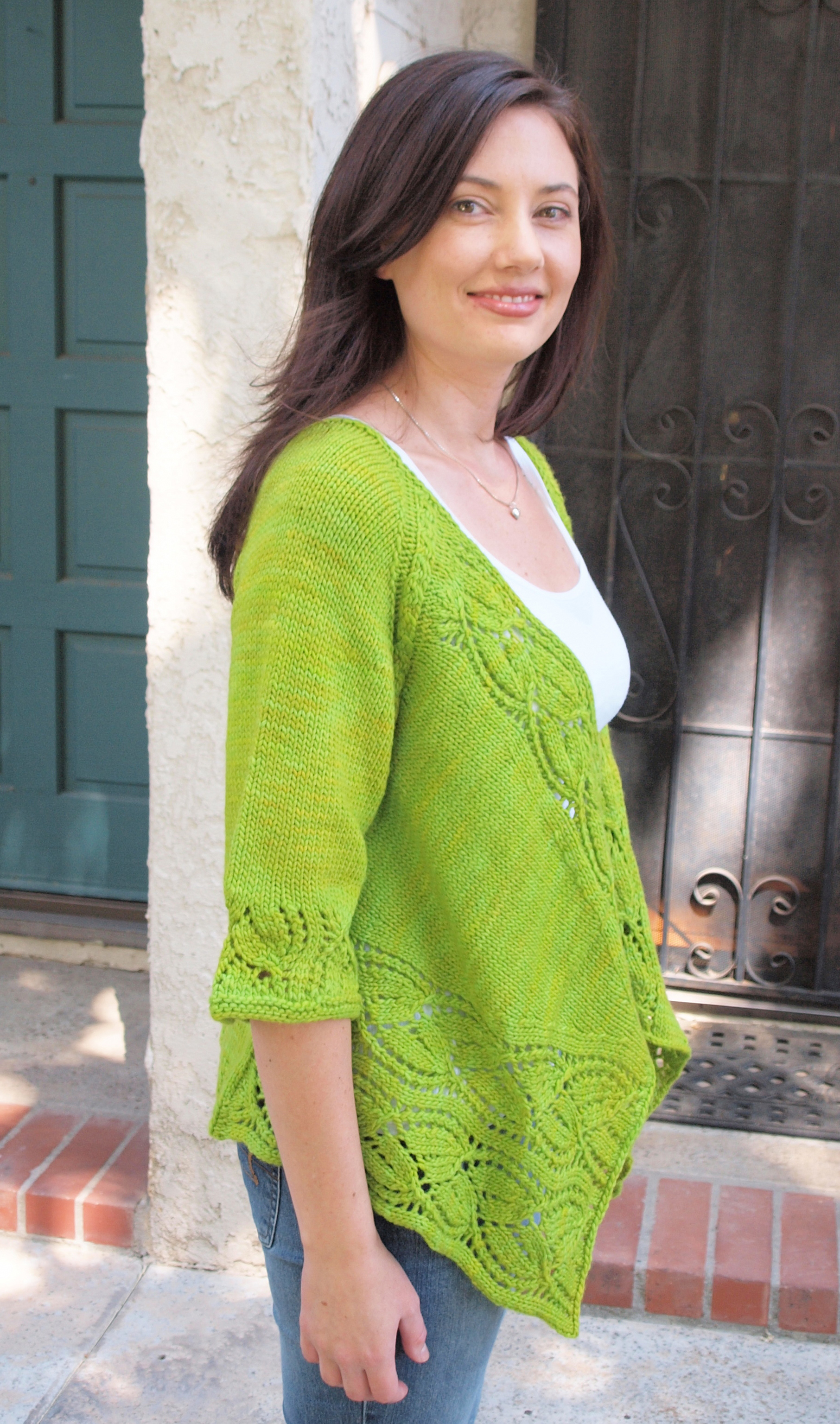 Dramatic Lace Wrap in Stunning Green! - Knitting Patterns Blog from ...