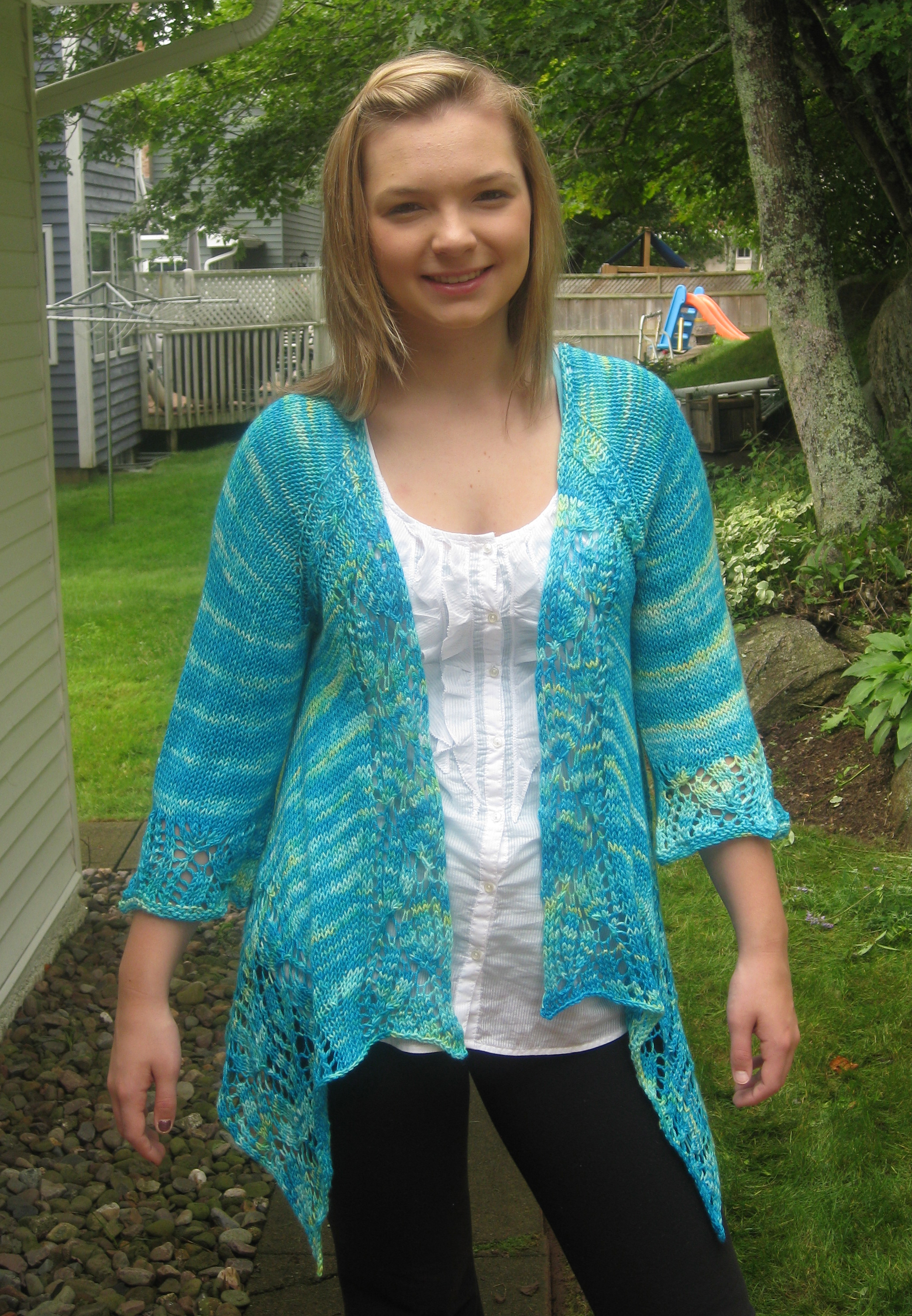Knitting Pattern for Dramatic Lace Wrap Cardigan - Great for all ...