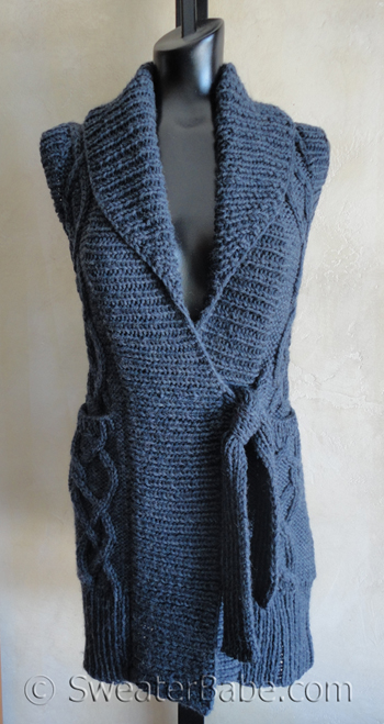 New Knitting Pattern - Coming next is this LONG Cabled Vest ...