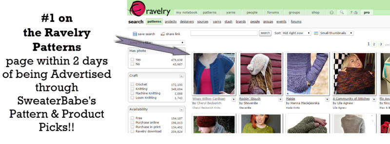 Ravelry Patterns page - #1 from Pattern Picks Ad!