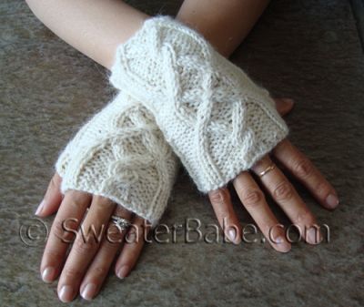 One-Skein Cabled Fingerless Gloves