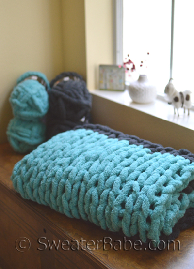 chunky table knit blanket
