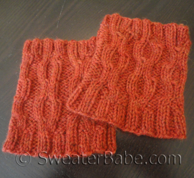 Easy Cabled One-Ball Boot Cuffs